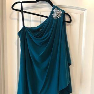 Dresses & Skirts - One shoulder teal dress size 14